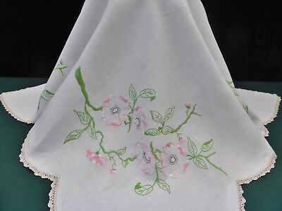 Vintage Linen Tablecloth-Hand Embroidered Pretty Pink & White Camellia Flowers