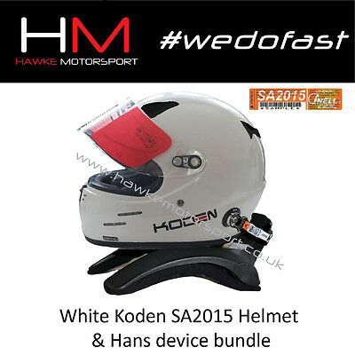 Koden SA2015 Approved White Motorsport Helmet & Stand 21 HANS Device