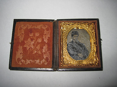 Antique mini Tin Type in case 1801 SC Dustin Keene NH civil war era