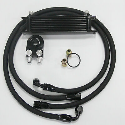 Universal 10Row AN10 Engine Oil Cooler + 3/4*16 & M20 Filter Relocation Hose Kit