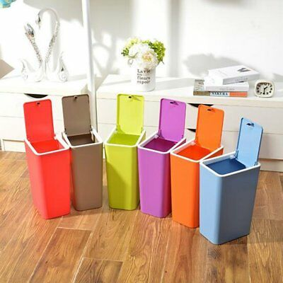 Plastic Recycle Recycling Bin Trash Can Lid Kitchen Rubbish Dustbin Waste SY