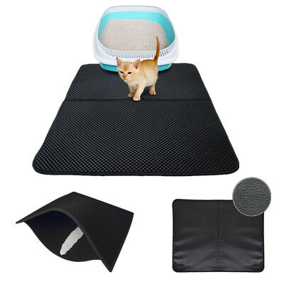 Durable Black Hole Cat Litter Mat Dual-Structure Litter Folded Mat Waterproof