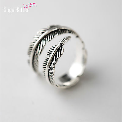 925 Silver Adjustable Mens Womens Feather Angel Finger Stacking Cuff Ring UK L