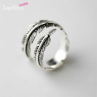 SALE 925 Silver Adjustable Mens Womens Feather Angel Finger Stacking Cuff Ring