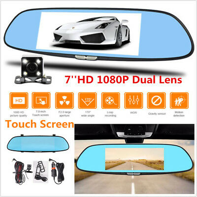 7inch 1080P Touch Screen Dual Lens Car Dash Cam DVR Rearview Mirror Video Camera