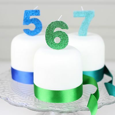 Blue, Green or Jade Glitter Number Candle 0 1 2 3 4 5 6 7 8 9 for birthday cake