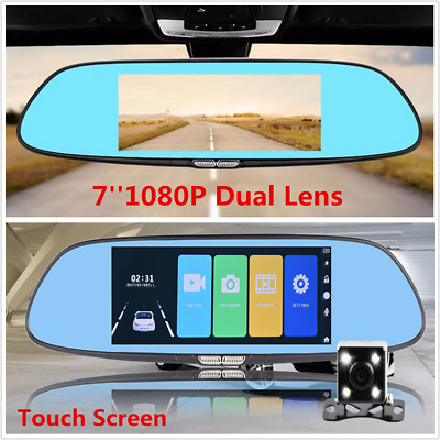 "7"" Touch Screen Dual Lens Car Dash Cam DVR Rearview Mirror Video Camera Recorder"