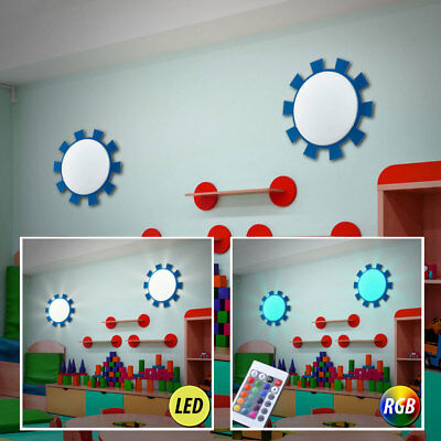 Set of 2 LED Wall Luminaires Remote Control RGB Children's Room Lights dimmable