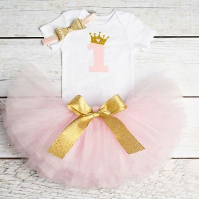 Baby Girl 1st First Birthday Tutu OUTFIT PINK Dress Romper cake smash 10-12m 1