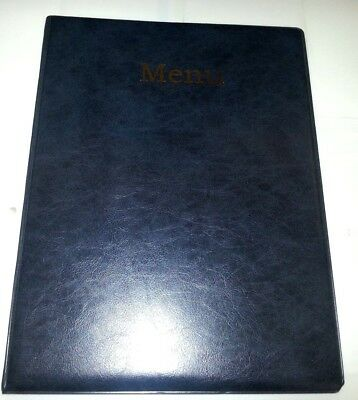 QTY 20 A4 MENU COVER/FOLDER IN GREY/BLACK LEATHER LOOK PVC + extra dble pocket