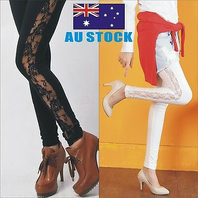 Women`s Sexy Lace Side Panel LEGGINGS S-XXXL Au Size 8-22 BLACK WHITE