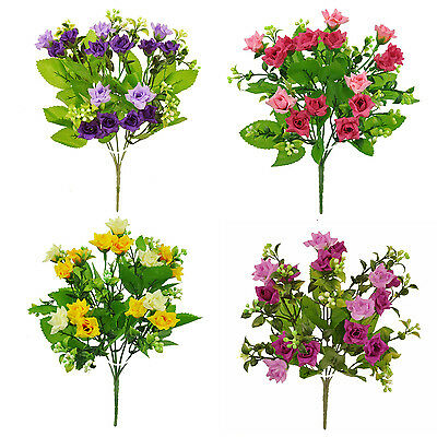 ARTIFICIAL SILK FLOWERS MINI ROSE BUNCH 4 COLOURS Wedding Home Grave Outdoor