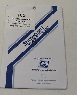 Showgard stamp mounts - BLACK backed pack of 10 strips 105mm high x 153mm long