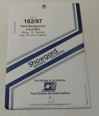 Showgard stamp mounts - BLACK backed pack of 10 strips 97mm high x 162mm long