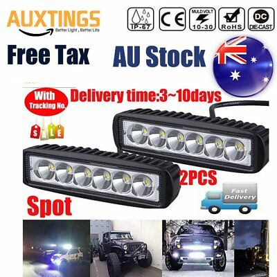 2x 18W 6INCH LED WORK LIGHT BAR OFFROAD FLOOD DRIVING AUTO TRUCK UTE 4WD LAMP OP