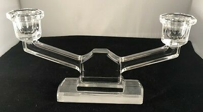 Art Deco clear glass double candlestick - FREE POSTAGE