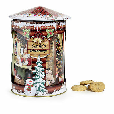 Santa's Workshop Christmas Rotating Musical Tin with Chocolate Chip Cookies