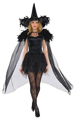 FANCY DRESS Adults Feathered Witch Cape