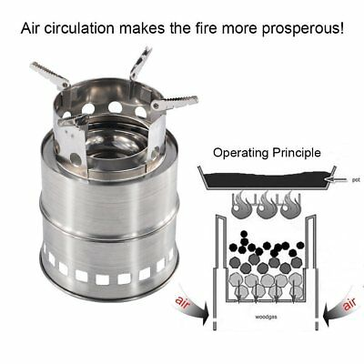 Stainless Steel Collapsible Folding Firewood Stove Cooker hiking outdoor camping