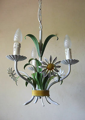 Antique  French  Toleware  3 Light Chandelier With Daisy Flowers