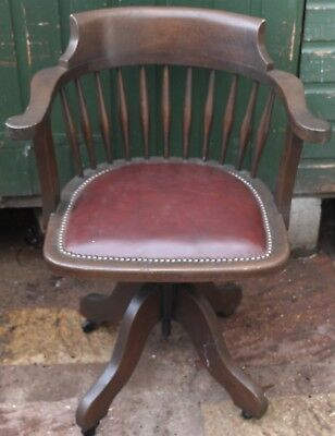 Fantastic Looking Old Solid Wooden Office Or Desk Swivel Chair