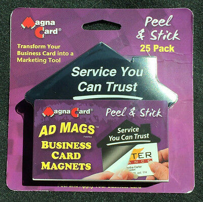 MAGNA CARD Self-adhesive Peel-and-Stick Business Card Advertising Magnets - 25ct