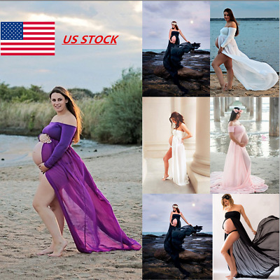 Pregnant Women Bandeau Front Split Maxi Dress Photography Photo Maternity Dress