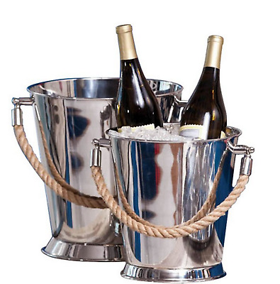 Ice Bucket Set Wine Champagne Cooler Stainless Steel Rope Handle Design 2 Piece