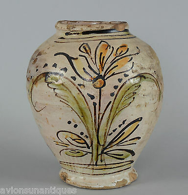 Dated 1840 Faience Majolica Flower Decorated Pottery Vase Yellow Brown & Green