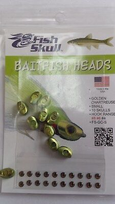 "FISH SKULL BAITFISH HEADS "" Golden Chartreuse ""  SMALL"