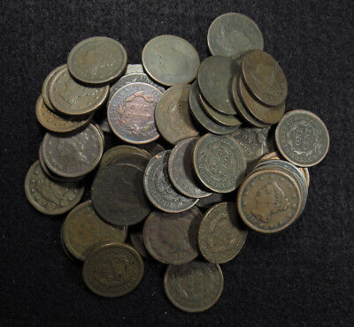 60 Large Cents (7-1810s, 12-1820s, 13-1830s, 16-1840s, 12-1850s) Different Dates