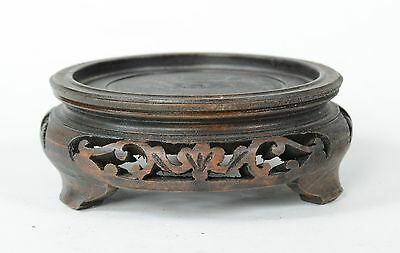"""For 3 1/8"""" base 4"""" Vintage / Antique Chinese Carved Wood Vase Bowl Stand 3 Legs"""