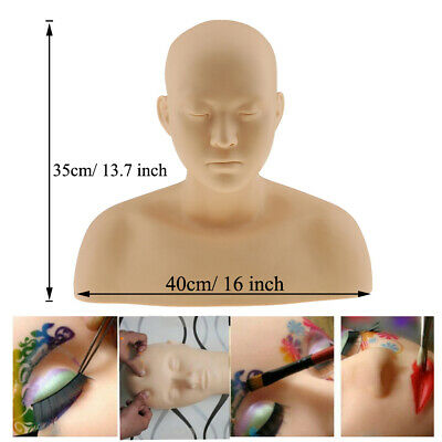 Massage Eyelash Face Makeup Practice Training Mannequin Head SOFT SILICONE