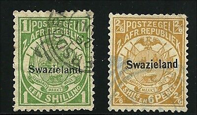 Swaziland  1889,  1/-s, 2/6s    SG 3, 5, used,  imperfections