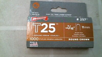 """Arrow #257 T25 Round Crown 7/16"""", 11mm, Staples, FREE SHIPPING"""