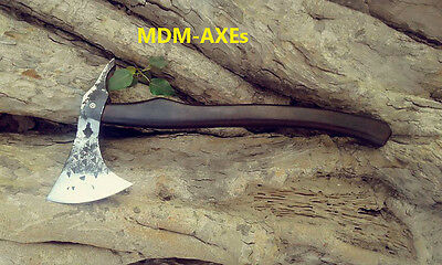 MDM-AXE's CUSTOM HANDMADE 5160 HC FORGED TOMAHAWK WOODCUTTER AXE NATURAL WOOD