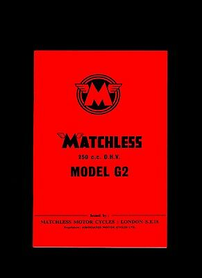 Matchless Instruction Manual Model G2 250 cc Book