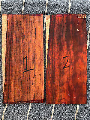 Cocobolo rosewood one-piece guitar headplate / head veneer blank / inlay set