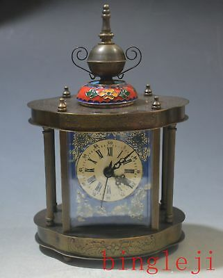 """8.26""""china copper and Cloisonne make mechanical watch"""