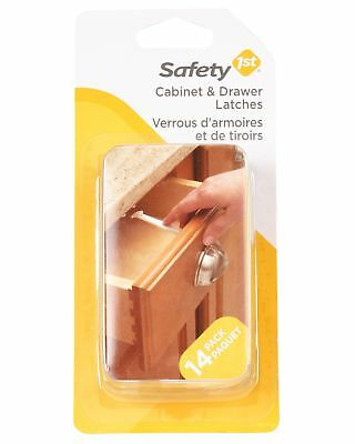 14 Pieces Baby Cabinet Locks Wide Grip Latches Child Kids Door Drawer Safety 1St