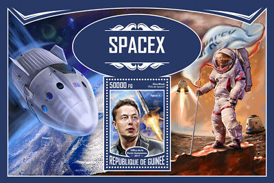Guinea 2017 MNH SpaceX Space Travel Tourism Elon Musk Falcon 9 1v S/S Stamps