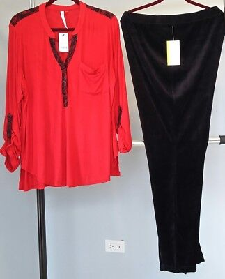 N.Y. Collection Red Lace Trim Top & Style & Co Black Velour Pants SIZE 2X - $125