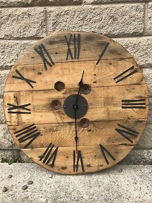 🕰Large Chunky 70cm Cable Drum Clock, Pallet Wood Style, Rustic,Vintage🕰