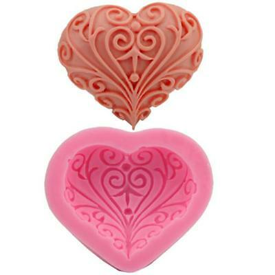 3D Silicone Rose Heart Shape Fondant Cake Mold DIY Craft Soap Candle Mould Tools