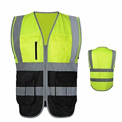 JKSafety 7 Pockets Class 2 High Visibility Zipper Front Safety Vest With