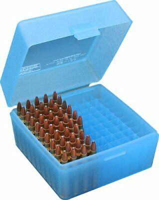 MTM 100 Round Flip-Top Rifle Ammo Box 22-25, 308 W, 243 (Clear Blue) New