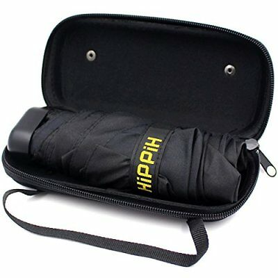 Hippih Small Mini Black Umbrella with Case Light Compact Design makes it perfect