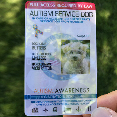 Holographic Autism Service Dog Id Card Badge Ada Full Access By Law