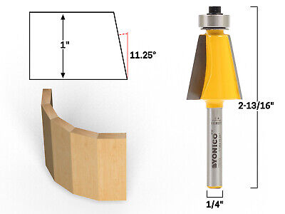 "11.25° Chamfer & Bevel Edging Router Bit - 1/4"" Shank - Yonico 13911q"