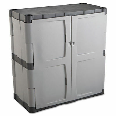 Rubbermaid Double-Door Storage Cabinet - Base 36wx18dx36h Gray/black 7085 NEW